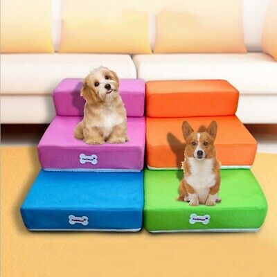 Folding Portable Dog Cat Pet Stairs Comfortable Cushion  Bed 2-Layers Stairs UK