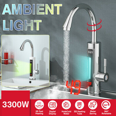 LED Digital Electric Hot Water Heater Heating Faucet Instant Heat Tap Kitchen `~