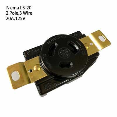 NEMA L5-20R 20A 125V Wall Receptacle Twist-Lock Electrical Plug L5-20 Female