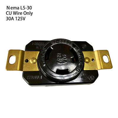 NEMA L5-30R 30A 125V AC 2Pole 3Wire Twist Locking Receptacle Connector Female
