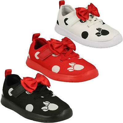 Girls Clarks Ath Bow Hook & Loop Infant Disney Minnie Mouse Casual Trainers Size