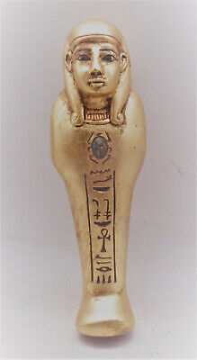 Circa 664-332Bce Ancient Egyptian Gold Gilded Ushabti Shabti Museum Quality