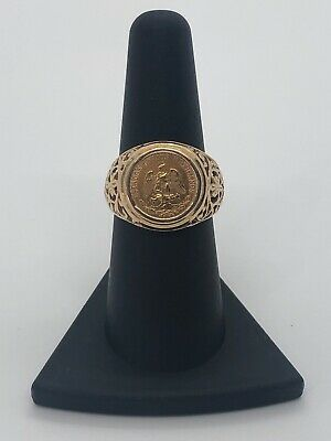 Gorgeous 14KT Yellow Gold 585 1945 Dos Pesos Coin Scroll Well Made Ring