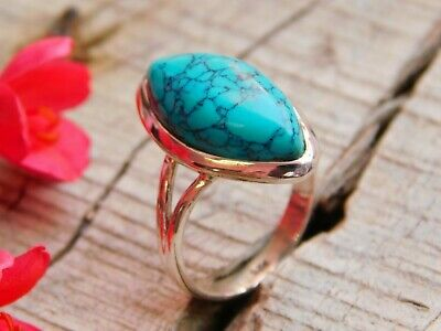 Genuine 925 Sterling Silver Chinese Turquoise Ring US Size 6 Handcrafted Jewelry
