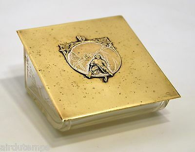 Box of Living Room Cigarette Art Nouveau Crystal & Brass Pattern Sledger Early