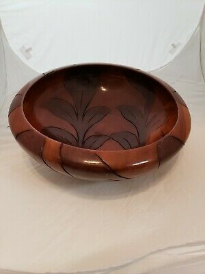 Large Wooden Decorative Bowl Handmade 13 inches