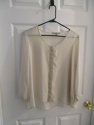 NY Collection Ivory Sheet Embellished Gold Crochet Placket 3/4 Sleeve Womens L