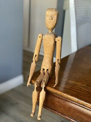 Vintage Primitive Wood Hand Carved Artist Mannequin/Dancing Doll Fully Jointed