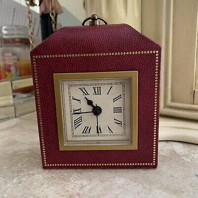 Pottery Barn Abbott Clock Red Faux Leather