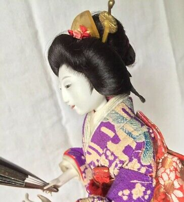 RARE MEIJI GEISHA*HI SHEEN GOFUN*FAB SILK KIMONO*HAIR w/KANZASHI*OPEN LIPS/TEETH
