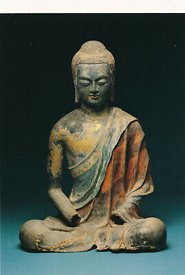 Art POSTCARD 1990 Seated Buddha Chinese Tang Dynasty Statue 7th Century Lacquer