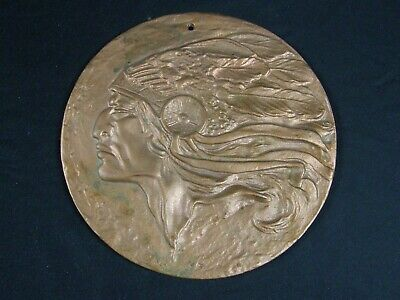 Vintage Antique Cast Iron Art Wall Plaque Mohawk Native American Indian Chief