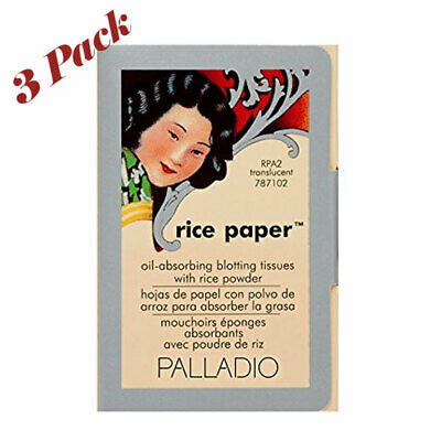 Palladio Rice Paper Tissues, Translucent 40 Sheets with Rice Powder (3 Pack)