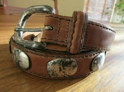 Vintage Billy 40 Distressed Brown Top Grain Leather Concho Belt, Usa
