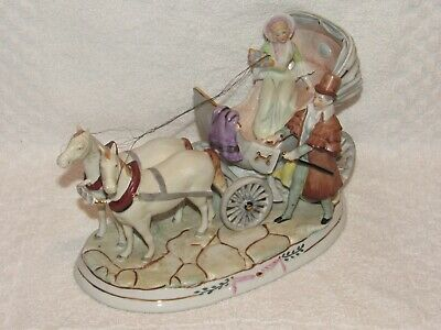 Antique German Made Dresden? Porcelain Carriage & Horses Figurine -20860 Germany