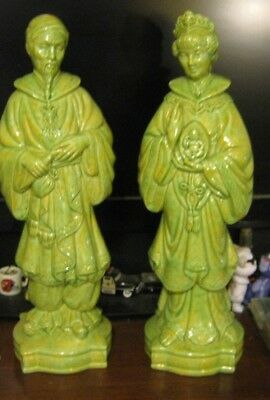 Vintage Pair Holland Mold Oriental Ceramic Figures Asian