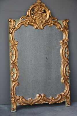 Antique French mirror Louis XV Rococo carved wood gilt gesso sage green painted