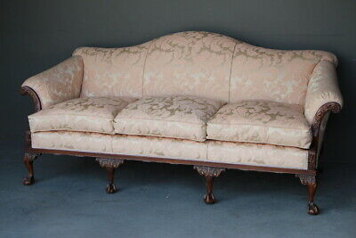 Antique Georgian Hepplewhite chaise settee sofa carved mahogany new upholstery