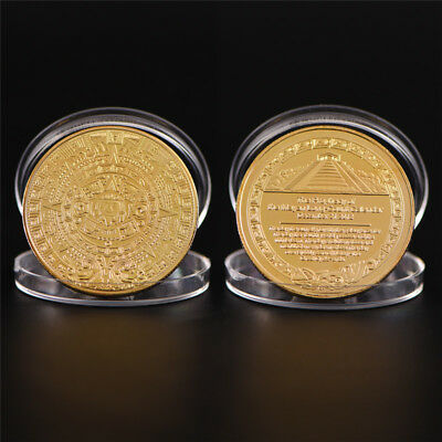 Maya Bitcoin Commemorative Bit Coin Art Collection Physical Plated Coin GiftR8Y