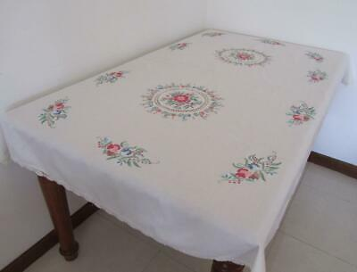Lovely Floral Embroidered & Crochet TABLECLOTH