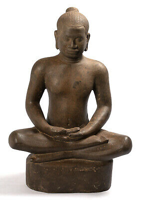Antique Khmer Style Stone Seated Jayavarman VII Statue - 40cm/16""