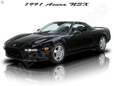 1991 Acura NSX in Black New Metal Sign: Fully Restored