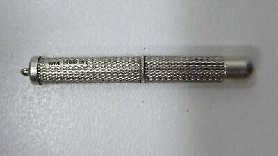 Antique Sterling Silver William Manton Retractable Toothpick Engraved Marked