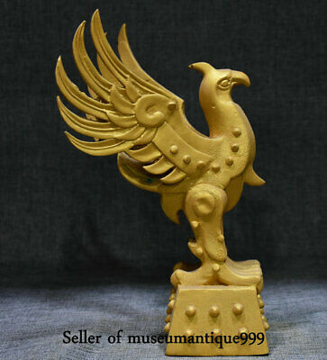 "10"" China Bronze Gilt Dynasty Palace Royal noble Phoenix Bird Statue Sculpture"