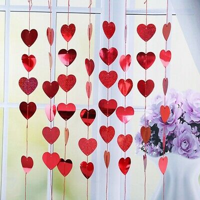 Valentines Hanging Heart Decorations 10 Red Heart Shaped Balloons 13 PCS Heart Garland 10m Balloon Ribbon for Valentines Day Engagement Wedding Anniversary Party Decoration Large Love Balloon