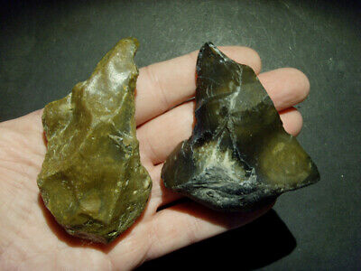 Lower Paleolithic - Two fine acheulean points. - UK C.450,000+ BP