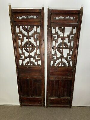 Pair (2) Antique Chinese Wood Handmade Carved Window Shutters
