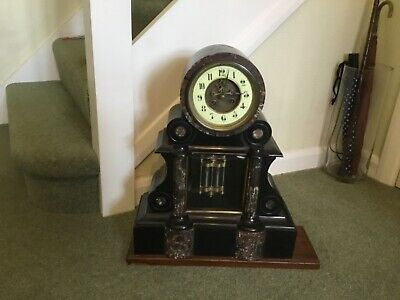 Antique Black Slate & Marble Clock. Mercury Pendulum. Working. With Key.