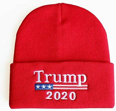 Donald Trump 2020 Beanie Hat Keep America Great Knit Warm Winter Red MAGA Beanie