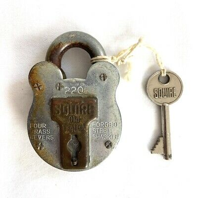 Old Padlock Squires Old English Forged Steel Shackle 220 Made In England Vintage