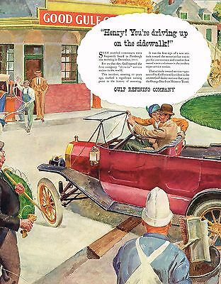1930s BIG Vintage Gulf Oil 1913 Drive In Gas Service Station Car Art Print Ad