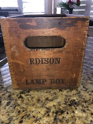 Antique Advertising Edison Lamp Wood Box Dovetail Prim
