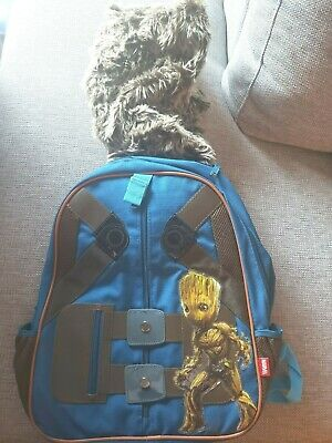 "Disney Store Marvel Guardians Galaxy Rocket Raccoon Hooded Backpack 15/"" 2017 NEW"