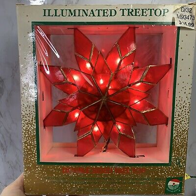 Vintage NOS Kurt S Adler Red Gold Christmas Tree Topper Star Illuminated Shell