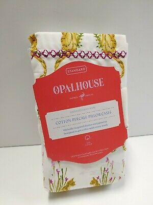Opalhouse Embroidered Hem Cotton Percale Standard Pillowcases White/g Yellow Ki
