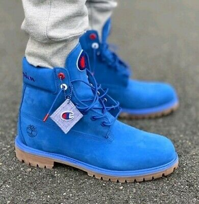 TIMBERLAND xCHAMPION 6'' Inch Waterproof leather Boots  Blue toddler/youth