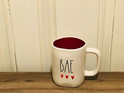 Rae Dunn Valentine's By Magenta Water Coloring Heart BAE Red Interior Babe Mug