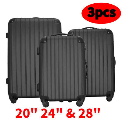 """3 Piece Luggage Set Travel Trolley Suitcase ABS with TSA Lock Black 20"""" 24"""" 28"""""""