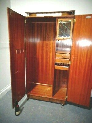 RETRO TEAK BEAUTILITY GENTS FITTED DOUBLE WARDROBE ORIGINAL 60s COMPACTUM