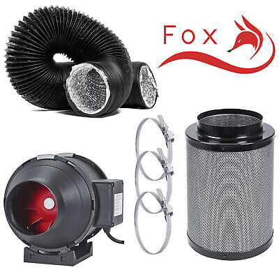 Hydroponics Fox Twin Speed Combi Ducting Silent Running Filter Kit Grow Tent