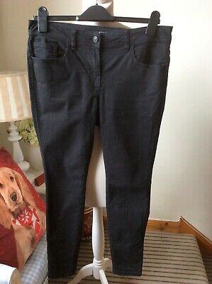 "NEXT Black Skinny Fit Jeans Denim Size UK 10 Regular L28"" Trousers Slim"
