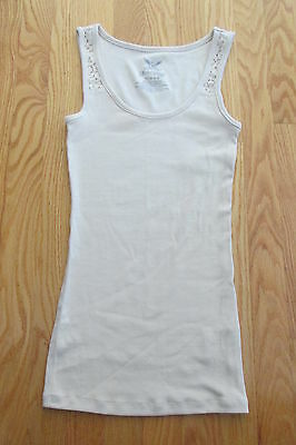 Faded Glory Women's Size S (4 -6) Tank Top Tan Beige Lace Inset Ribbed Shirt Nwt