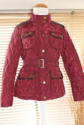 NEXT girls burgundy quilted jacket aged 9-10 years