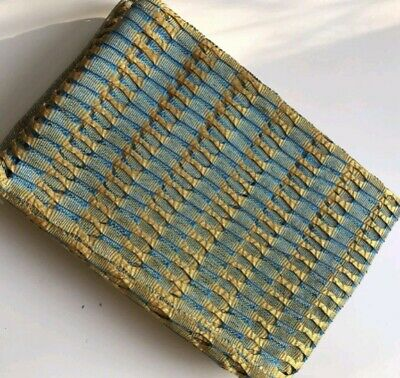 Blue with gold aso Oke GELE (ONE PIECE ONLY, brand new)
