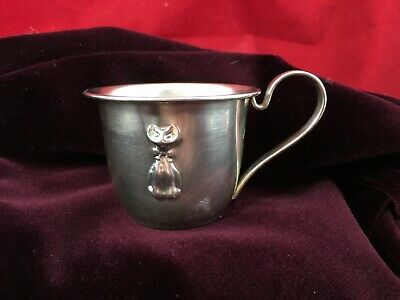 820 Silver Selandia Denmark Baby Cup w/ Handle Repoussé Cat Bottom Engraved