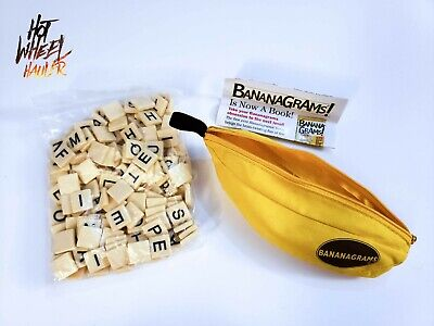 Bananagrams Word Tile Game Yellow Banana Case with All Pieces and Instructions